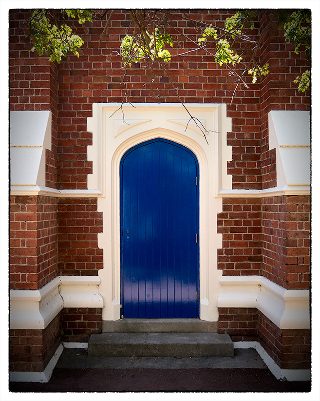 Blue vestry door Anglican church in Midland Western Australia
