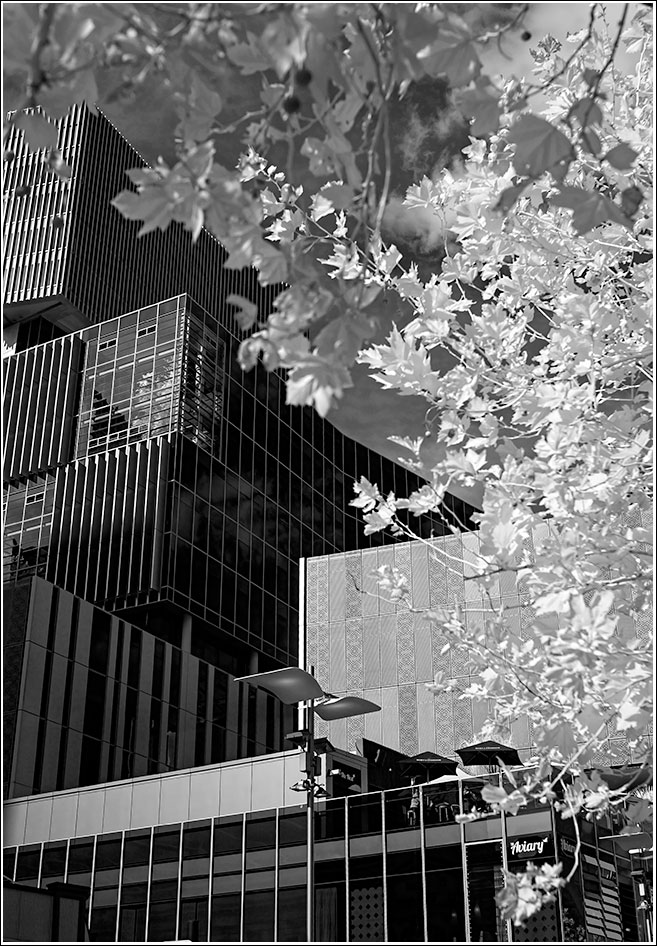 Many planes of architecture at street level