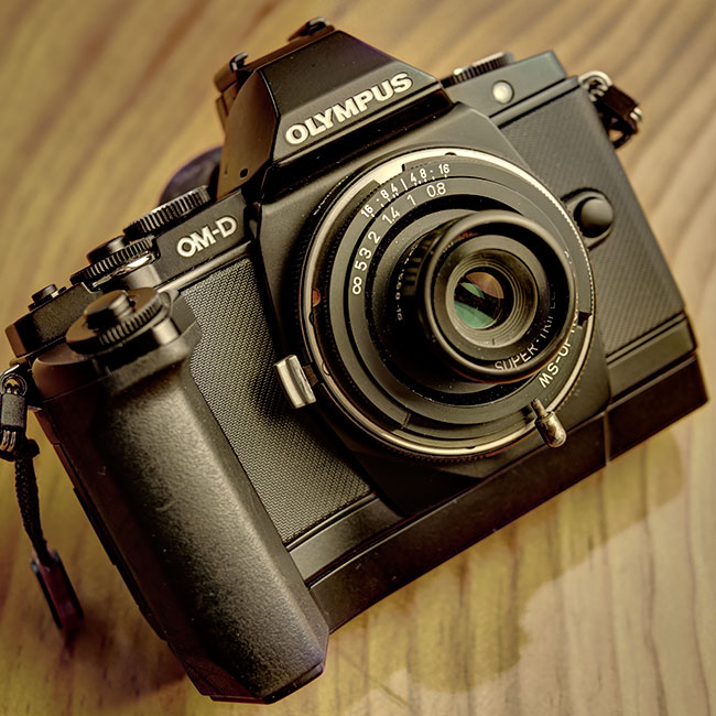 Olympus EM-5 with a 35mm MS Optical lens mounted