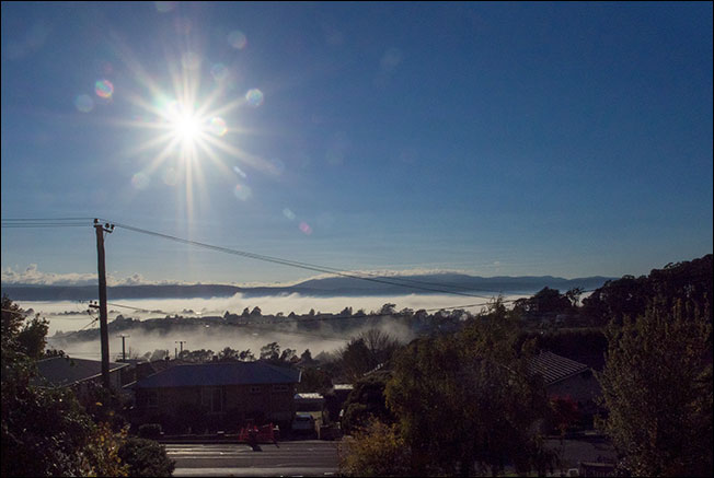 Fog lines and a sunrise from Prospect...